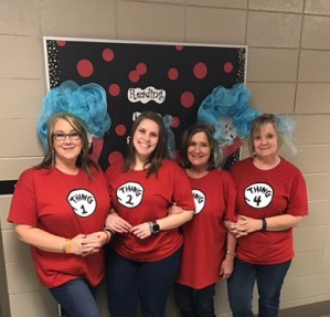 Four Teachers dress as Things to celebrate Dr. Seuss Week