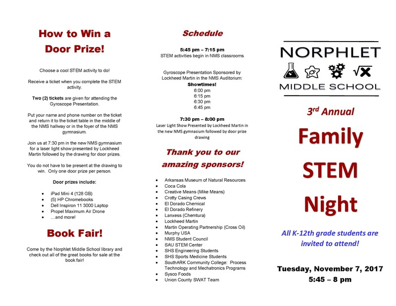 NMS Family STEM Night Brochure of Activities