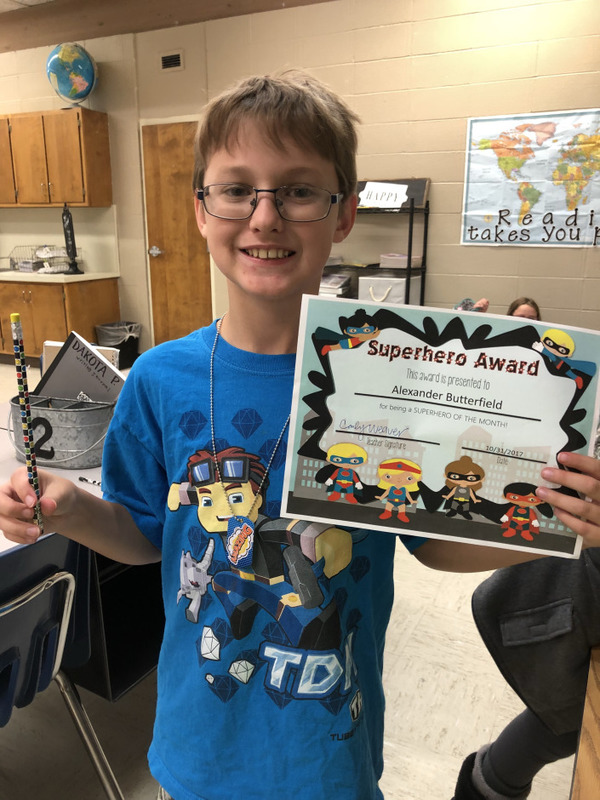 NES Student Receives the Superhero Award