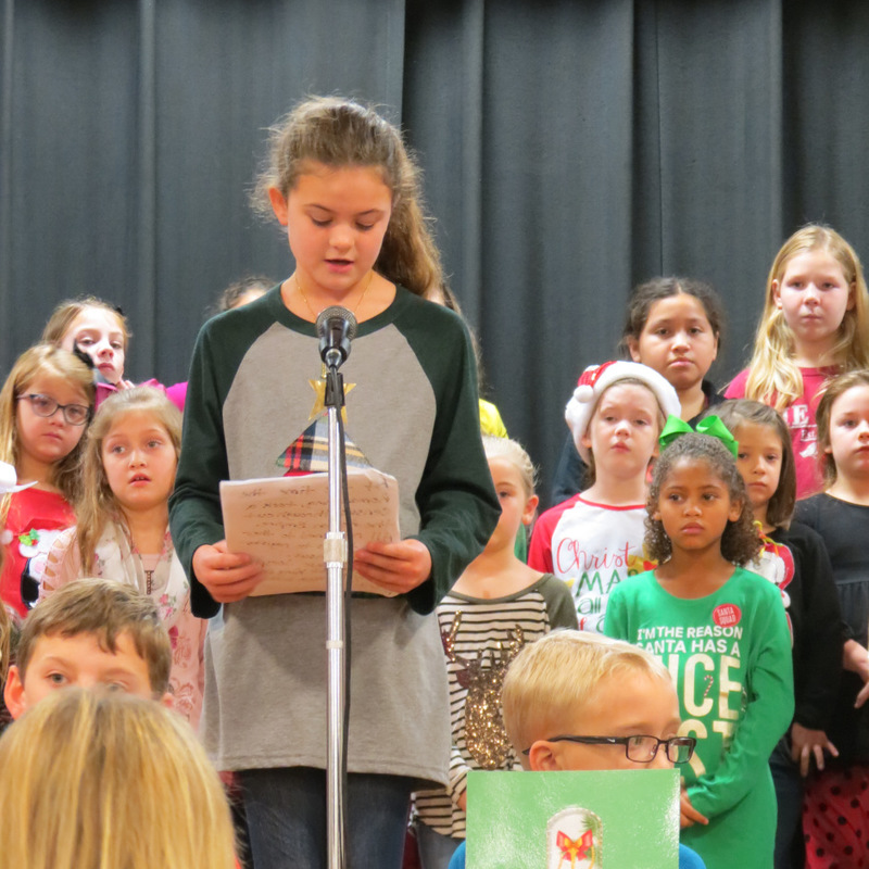 SES Student Reads Christmas Card