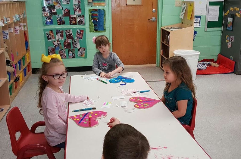 Three SPS Students Work on Valentines