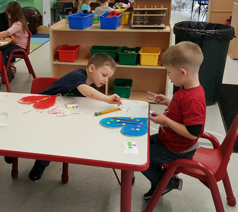 Two SPS Students Work on Their Valentines