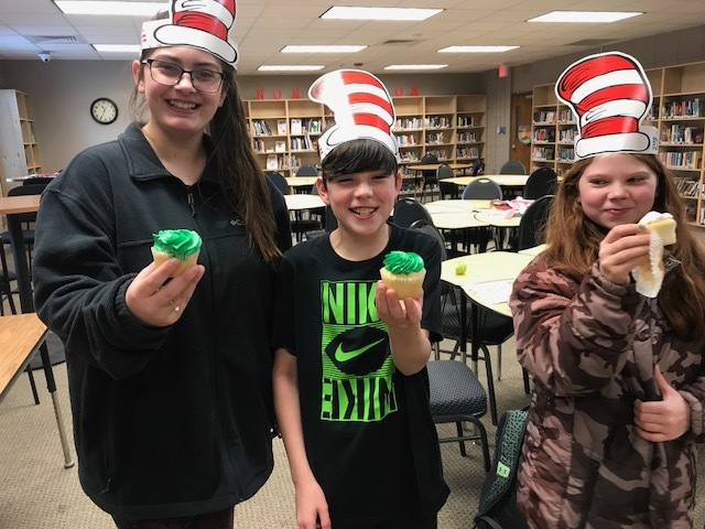 NMS Students with Green Cupcakes