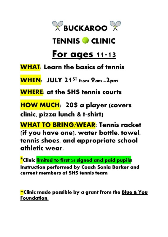 Buckaroo Tennis Camp Flyer