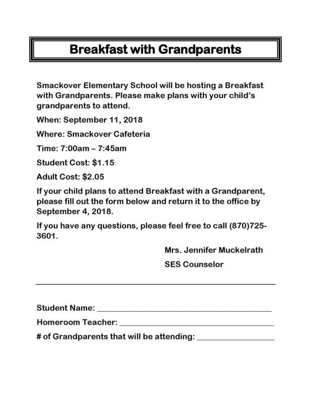 Breakfast with Grandparents letter
