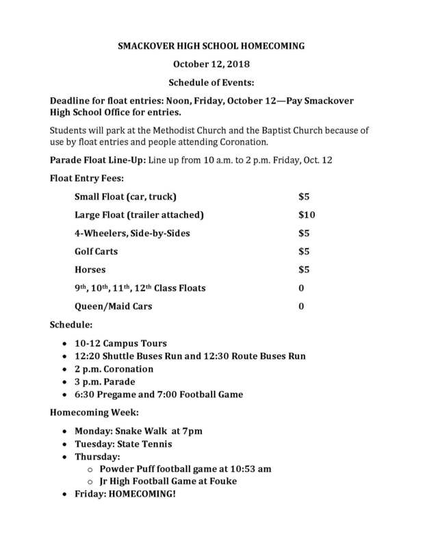 Updated Homecoming Information