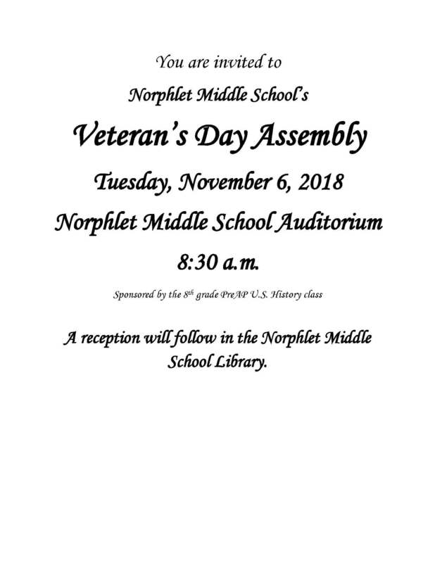 NMS Veteran's Day Assembly