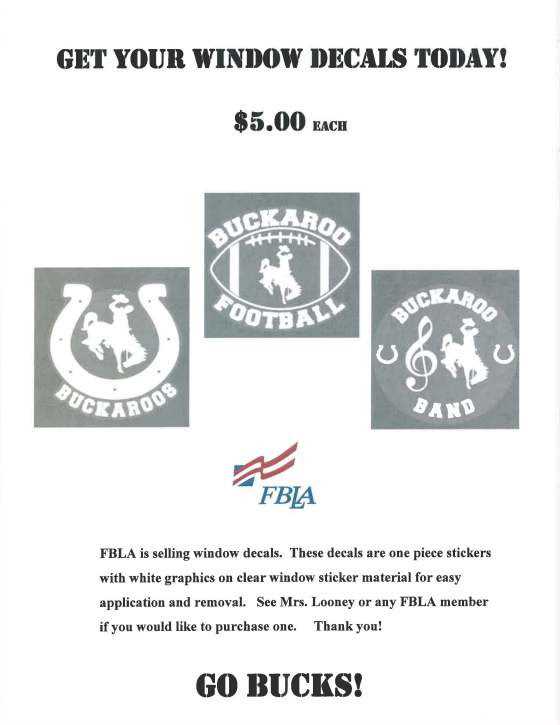 FBLA Selling Buckaroo Decals
