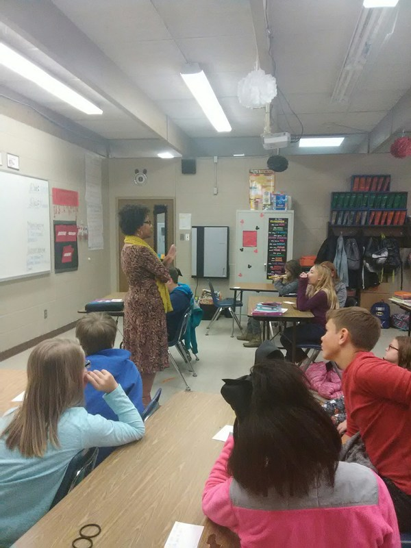 Mrs. Creer Speaks to Fifth Graders