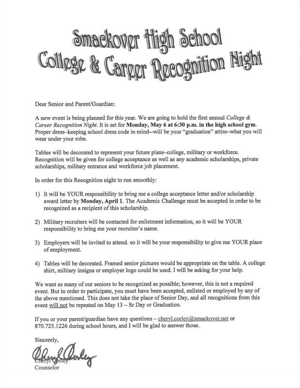 SHS College and Career Recognition Night Informational Flyer