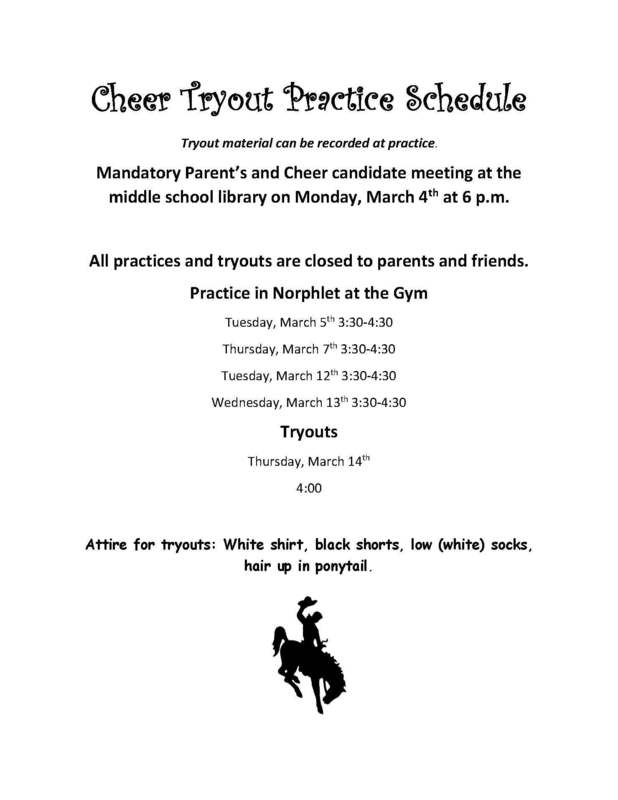 Jr. High Cheer Tryout Information