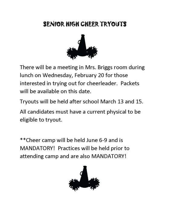 Senior High Cheer Tryout Information