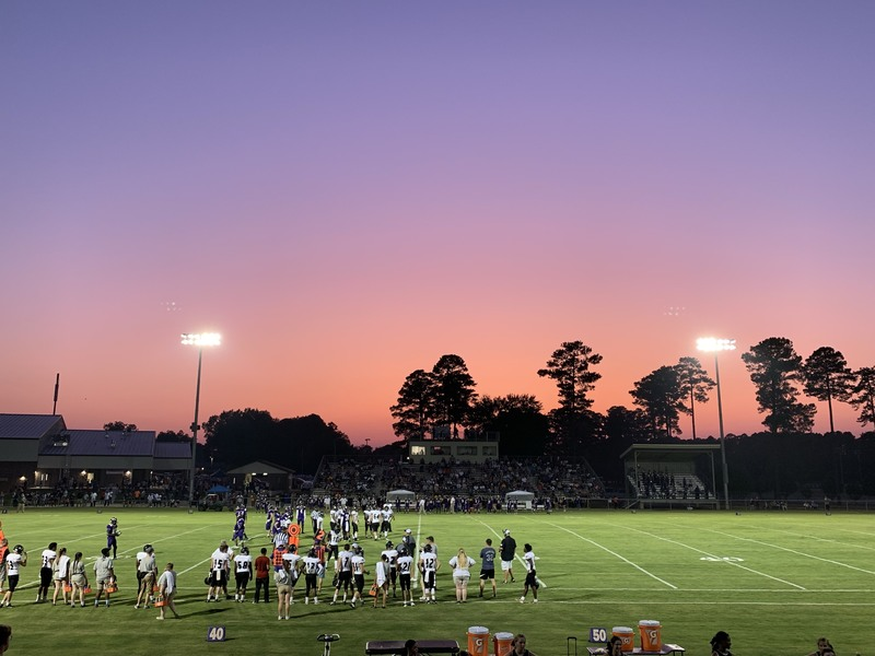 Sunset colors over Friday's game