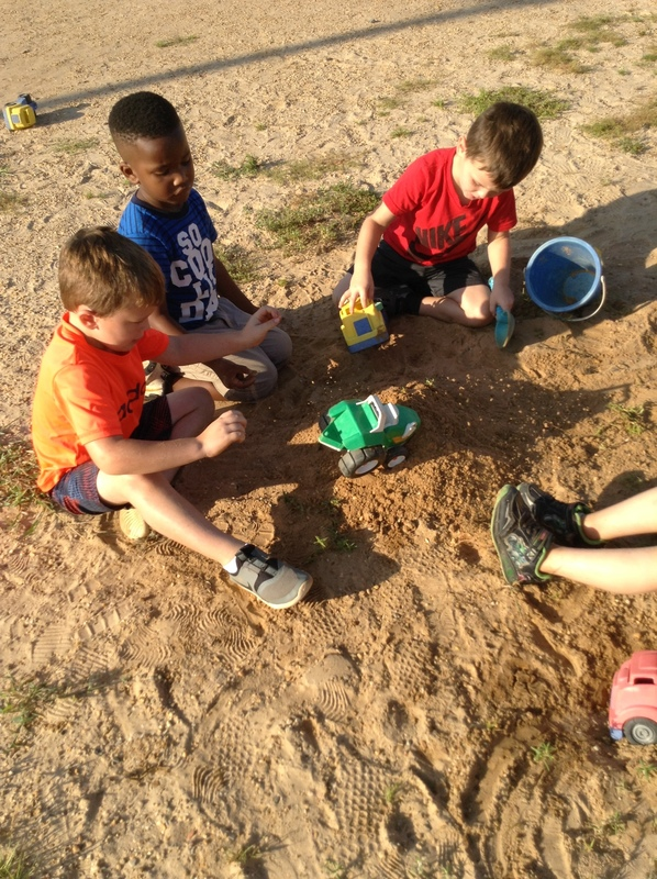 Smackover Preschool Students Playing in the sand