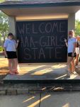 Welcome AAA-Girls State Sign and 2 Members of SHS Girls Golf Team