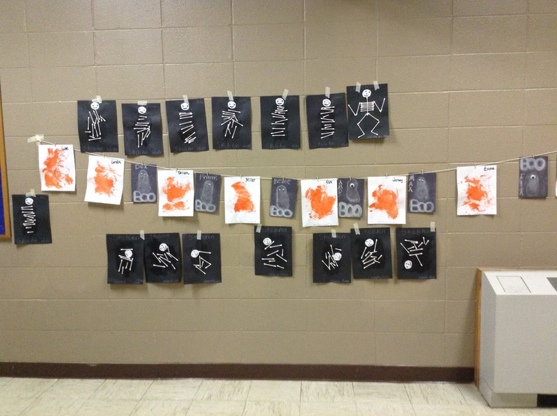 Smackover Preschool Toddler's Draw Spooky Skeletons