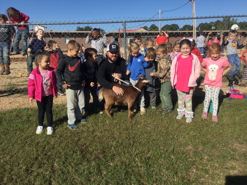 Mr. Beldsoe and his goat with Mrs. Jessica's class